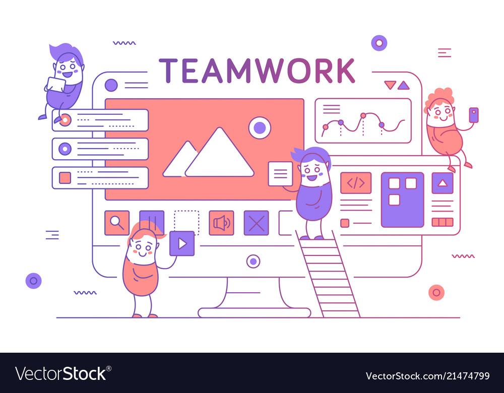 Thin line teamwork poster banner template