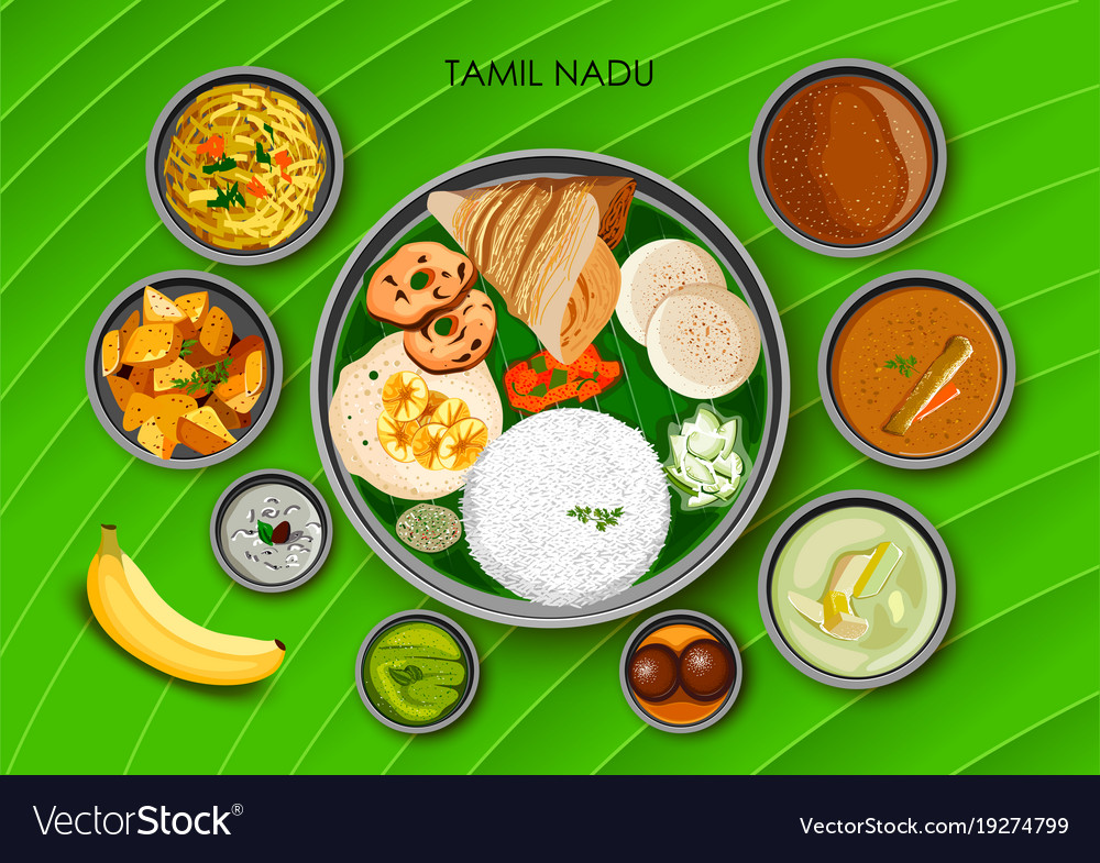 Traditional cuisine and food meal thali of tamil vector image forumfinder Images