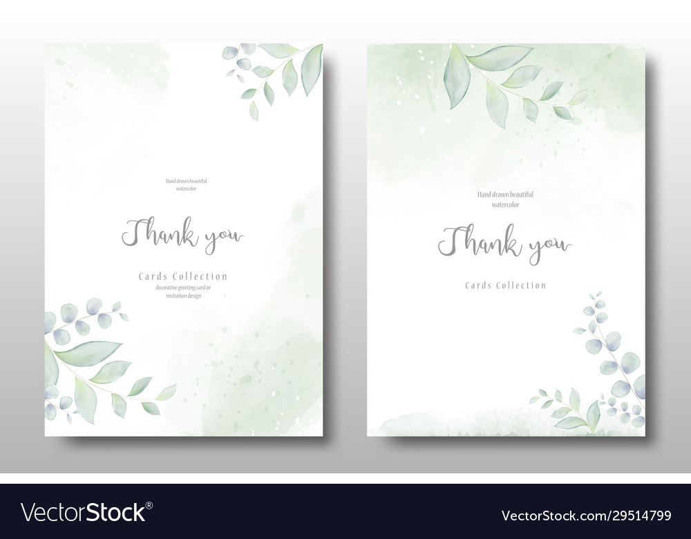 Watercolor hand painted invitation template card