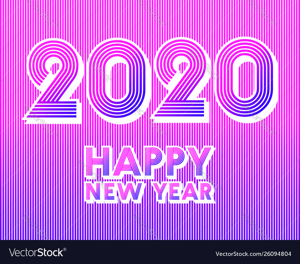 2020 happy new year background retro line design
