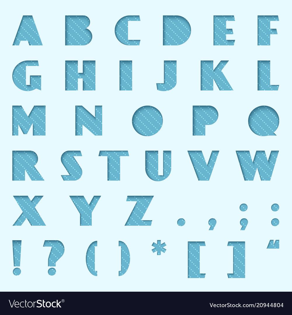 Blue paper cut alphabet cutted from paper vector image