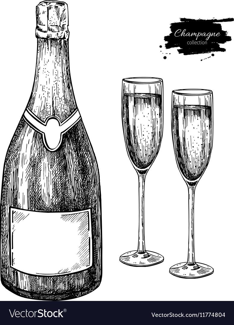 картинки шампанского карандашом эффектное