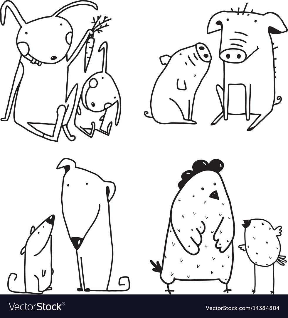 Chicken dog rabbit pig family childish cartoon