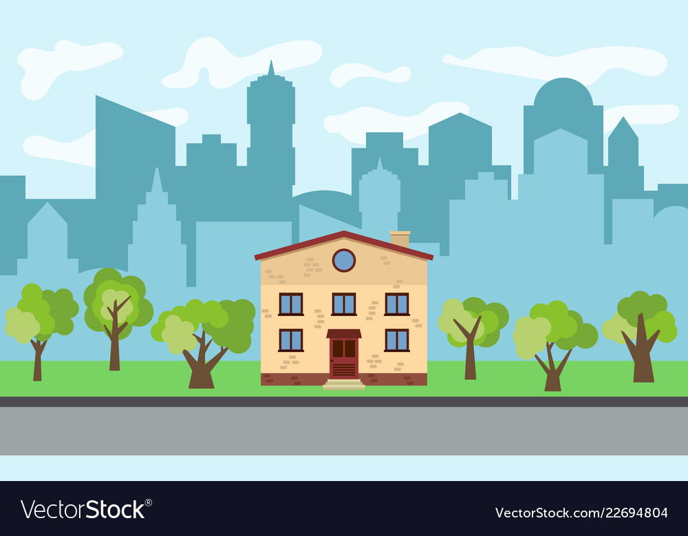 City With Two Story Cartoon House