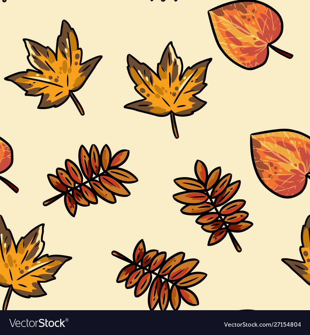 Cute Autumn Leaves Cartoon Seamless Pattern Fall Vector Image