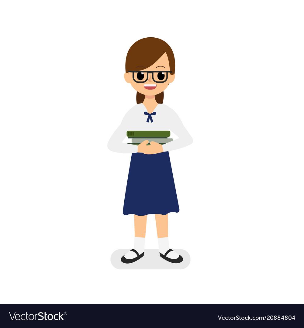 Cute girl thai student holding books