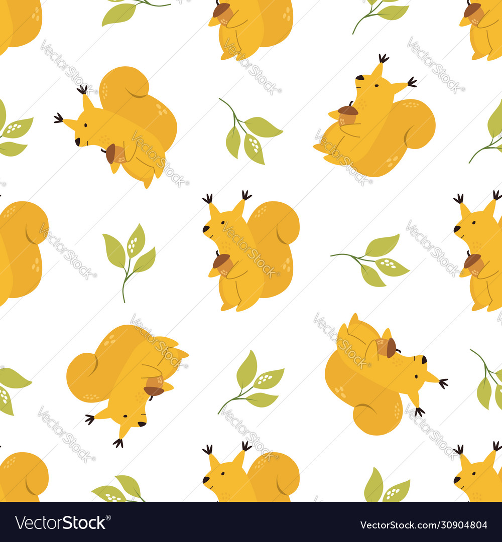 Cute seamless pattern with funny yellow squirrels