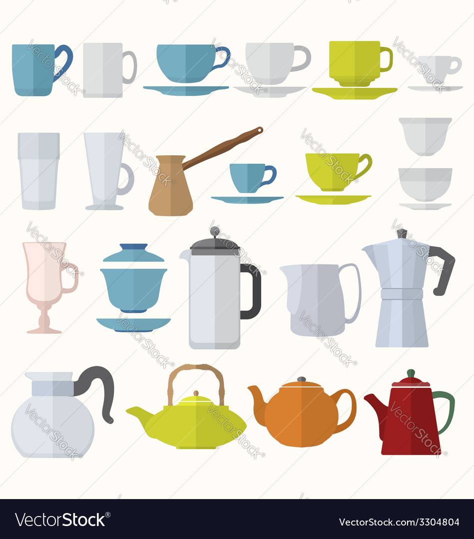 Flat style dinnerware cups mugs and pots set