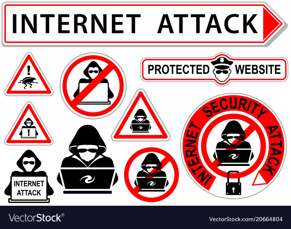 Internet attack signs or icons