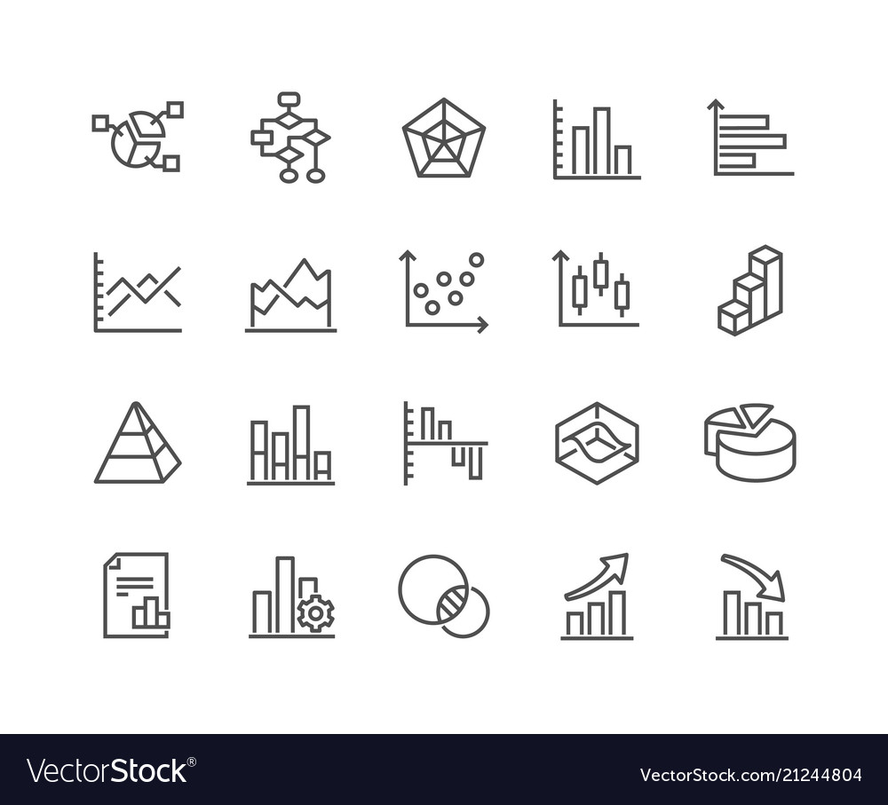 Line charts and diagrams icons