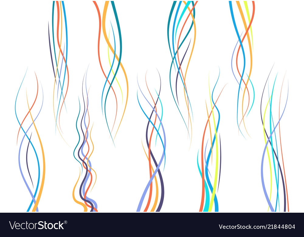 Set of abstract color curved lines
