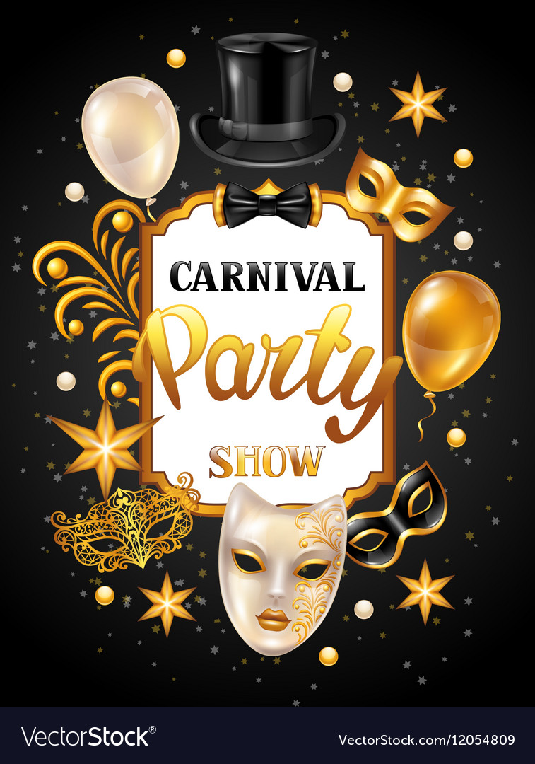 Carnival invitation card with gold masks and