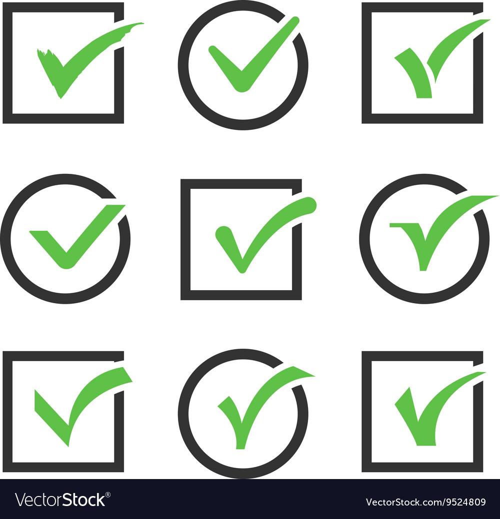 Check mark icon boxes set