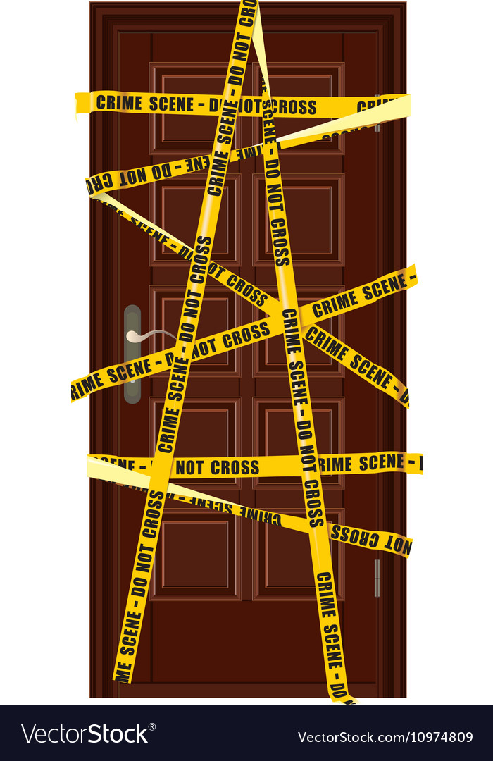 closed dooor with yellow police tape royalty free vector