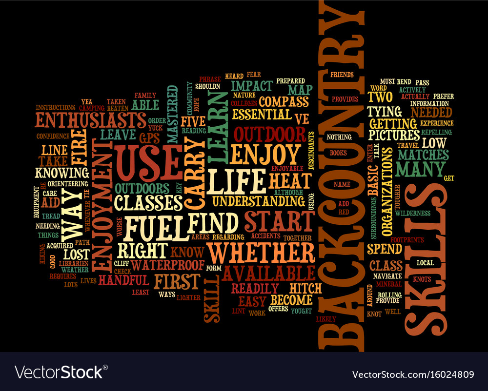 Five life skills for backcountry enjoyment text vector image