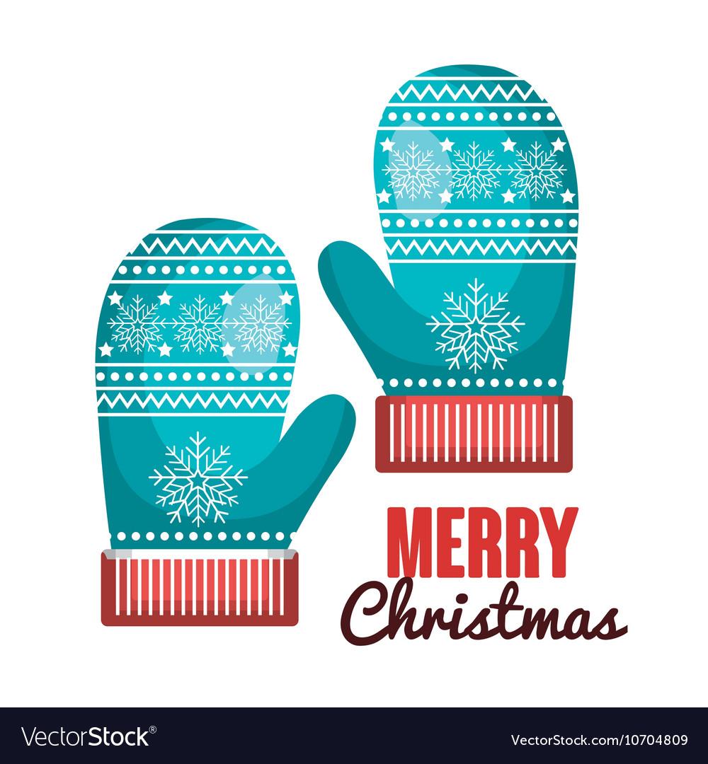 Gloves blue lettering merry christmas design