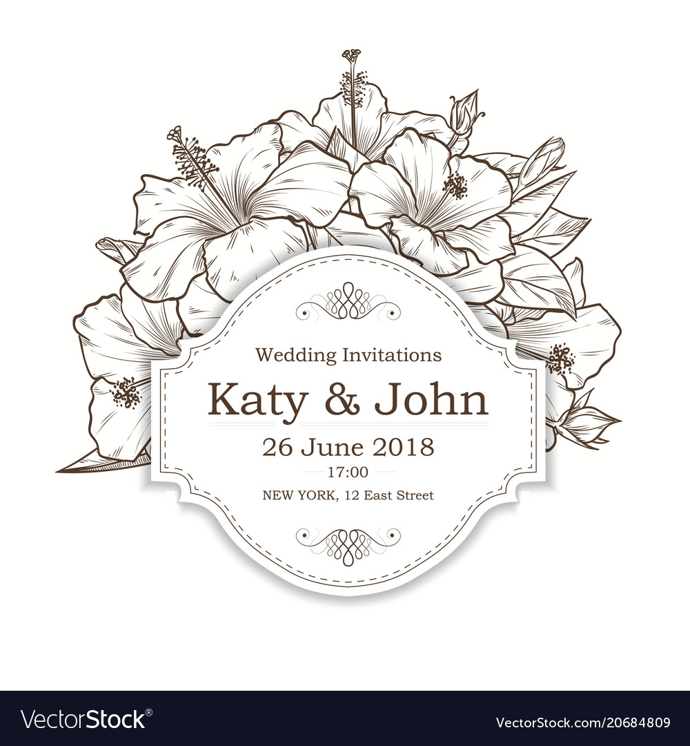 Invitation with hibiscus flowers