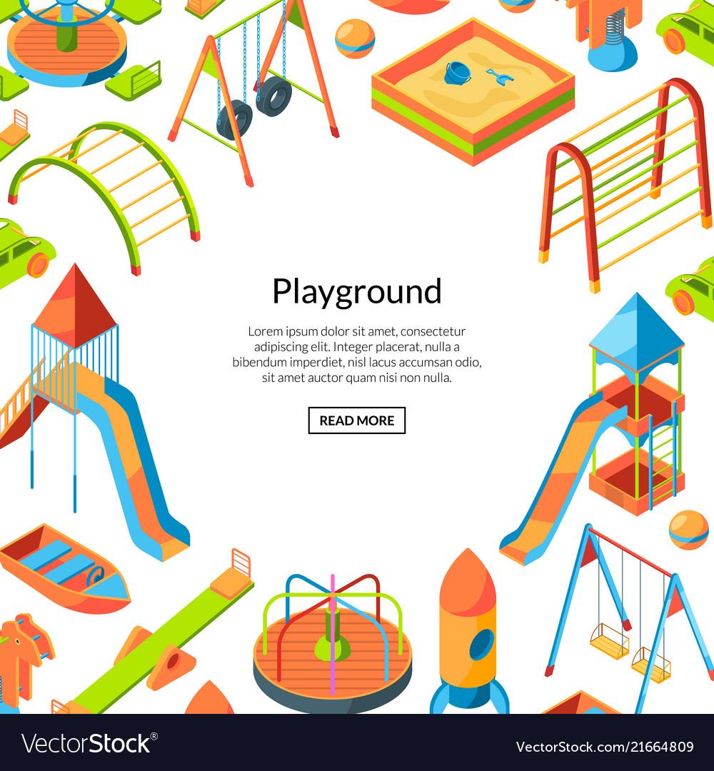 Isometric playground objects happy