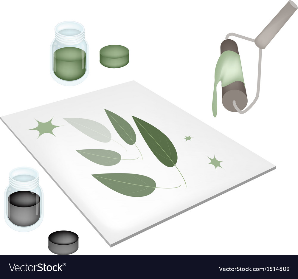 paint roller screen printing on a tiles royalty free vector