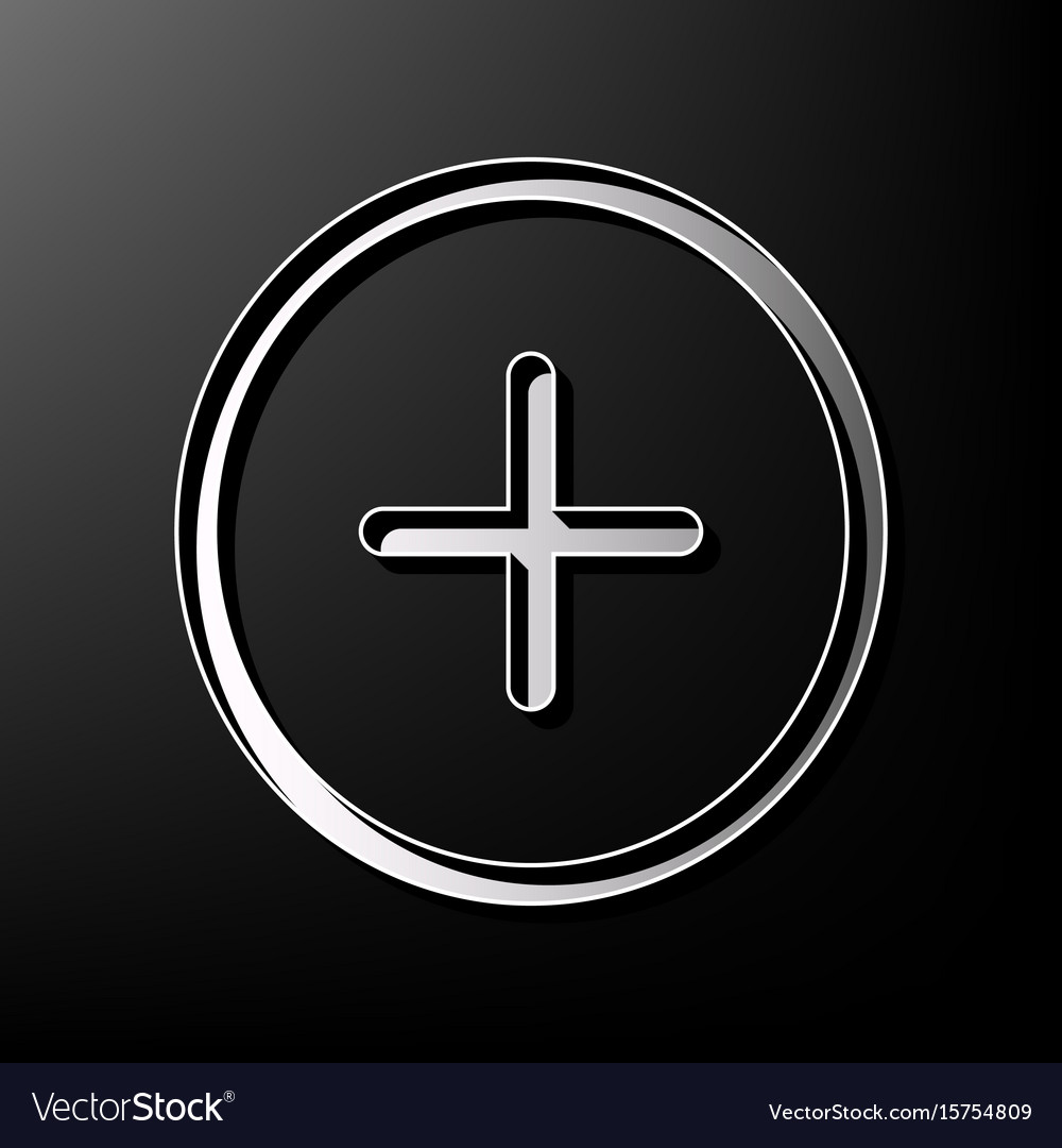 Positive Symbol Plus Sign Gray 3d Printed Vector Image