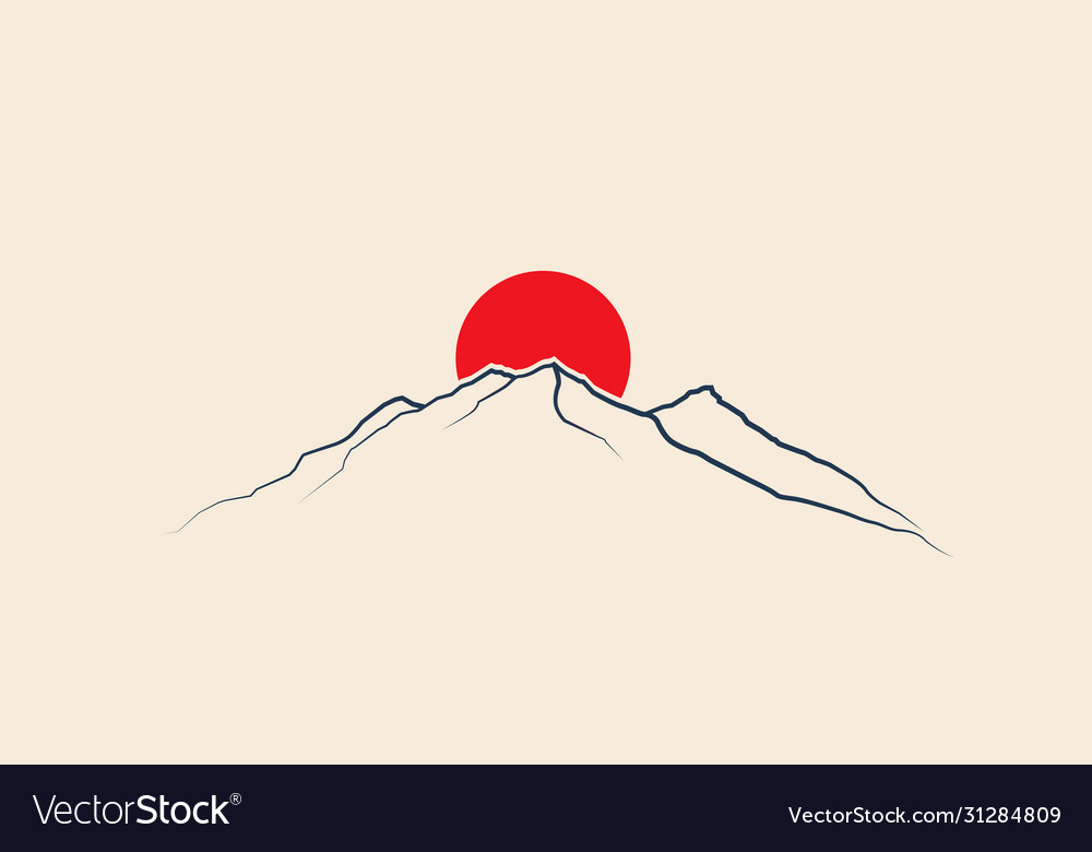 Red sun above mountains line silhouette japan