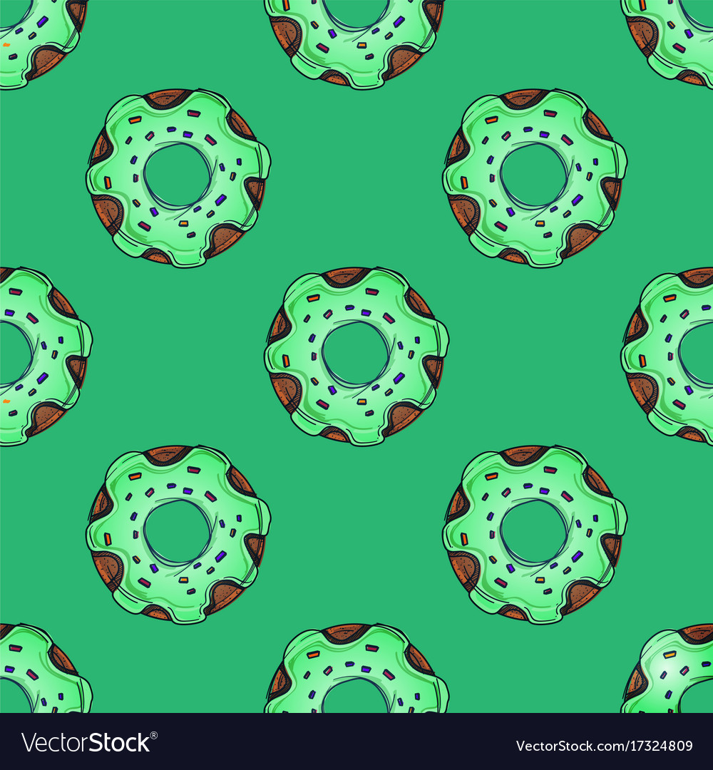 Seamless pattern from multi-colored donuts in a