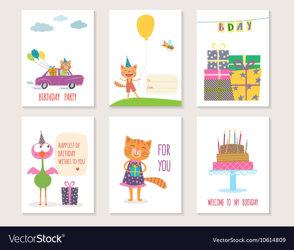 Set of birthday greeting cards design with cartoon