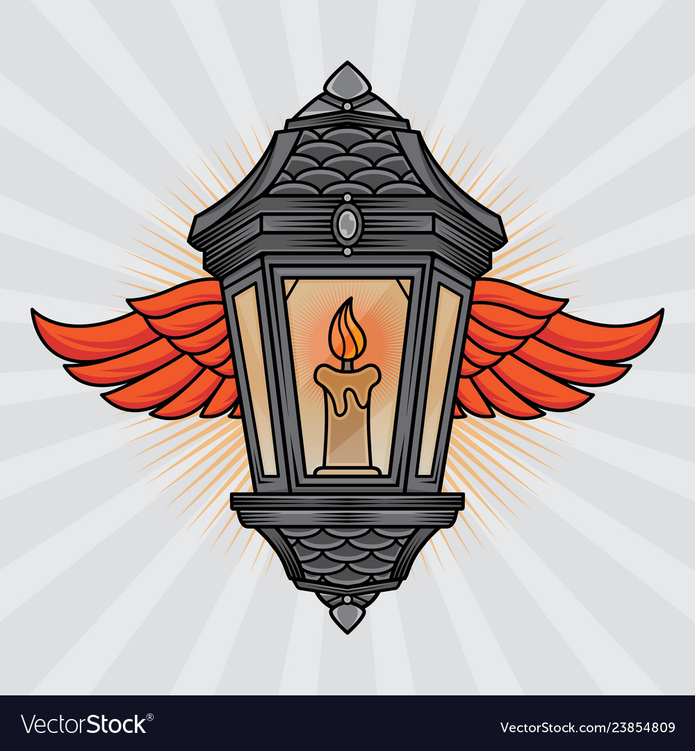Traditional Lantern And Wing Tattoo Royalty Free Vector