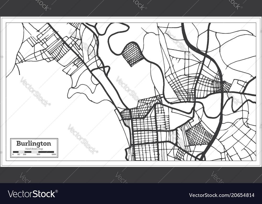 Burlington vermont usa city map in retro style Vector Image