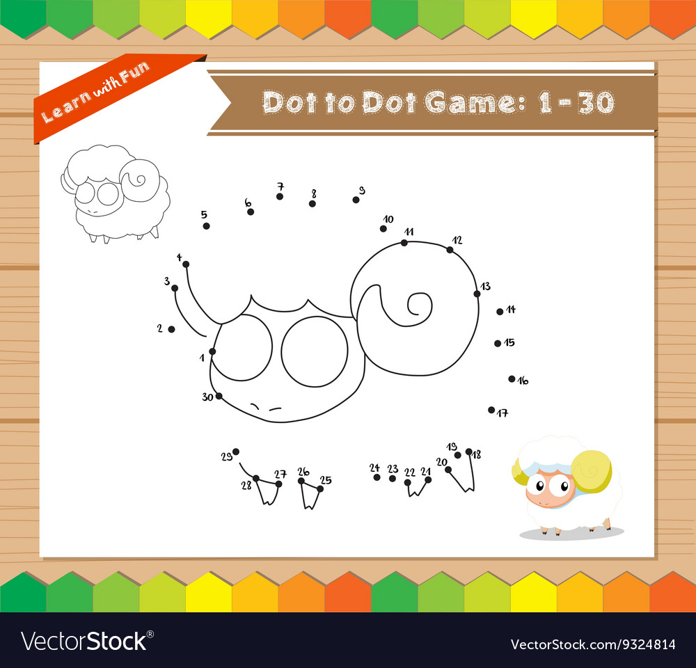 Cartoon Sheep Dot to dot educational game for kids