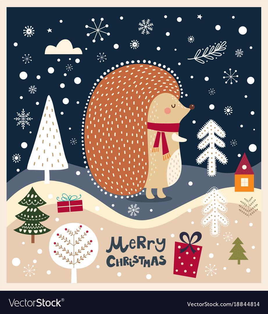 Christmas with hedgehog