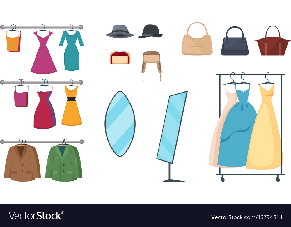 Clothing store icon set