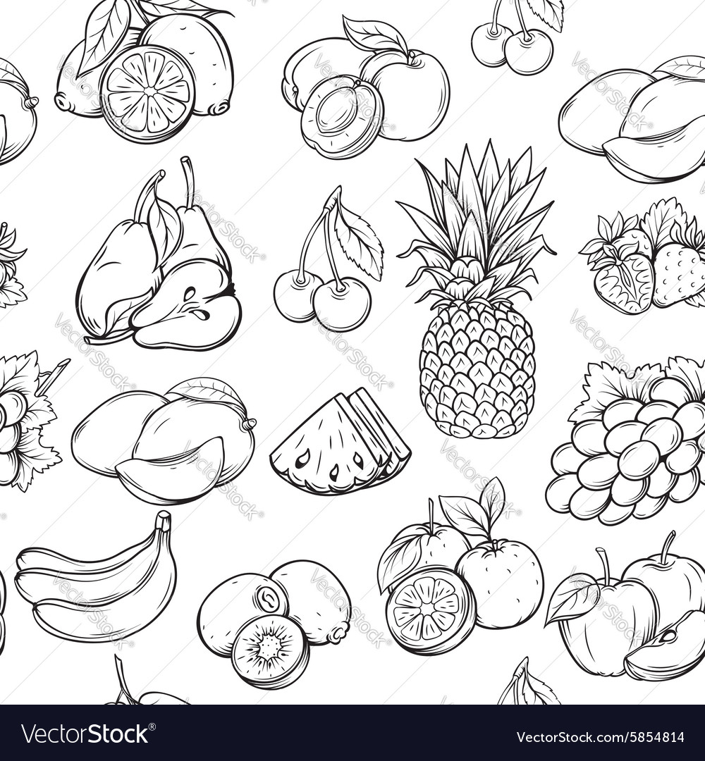 Hand Draw Fruits Pattern Royalty Free Vector Image