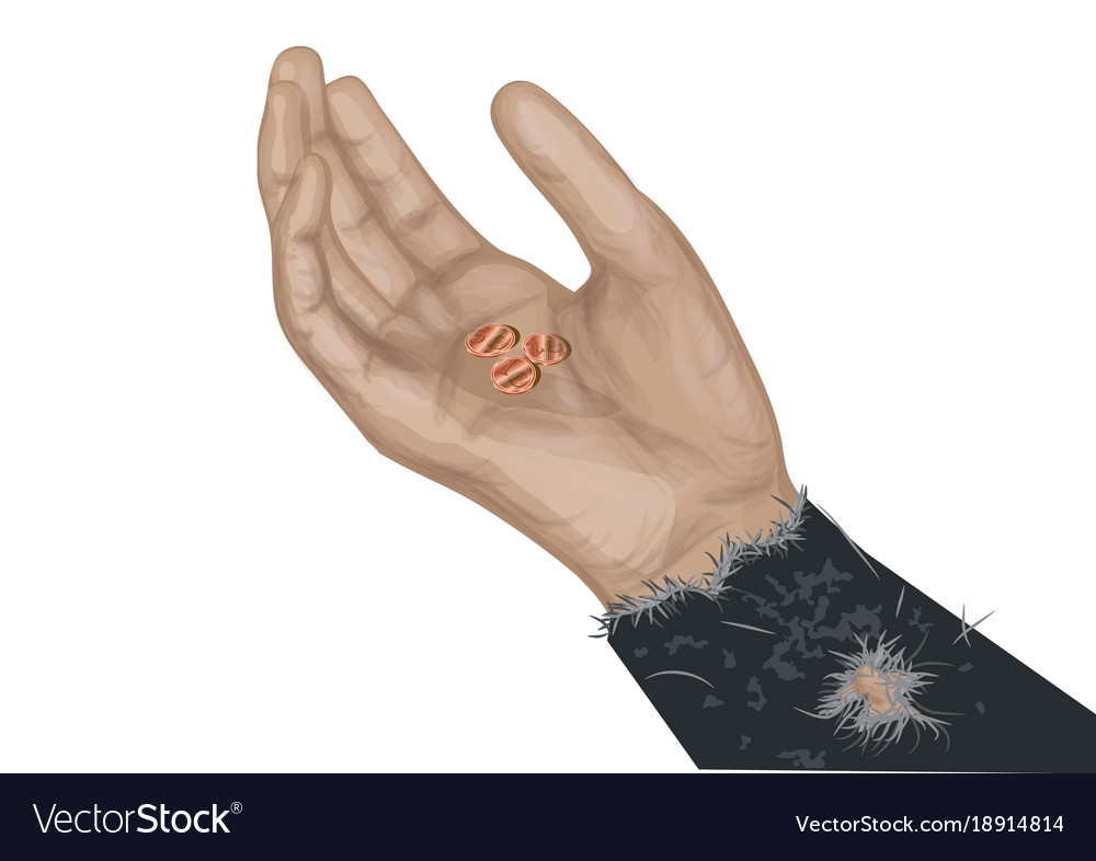 Hand of beggar with coins