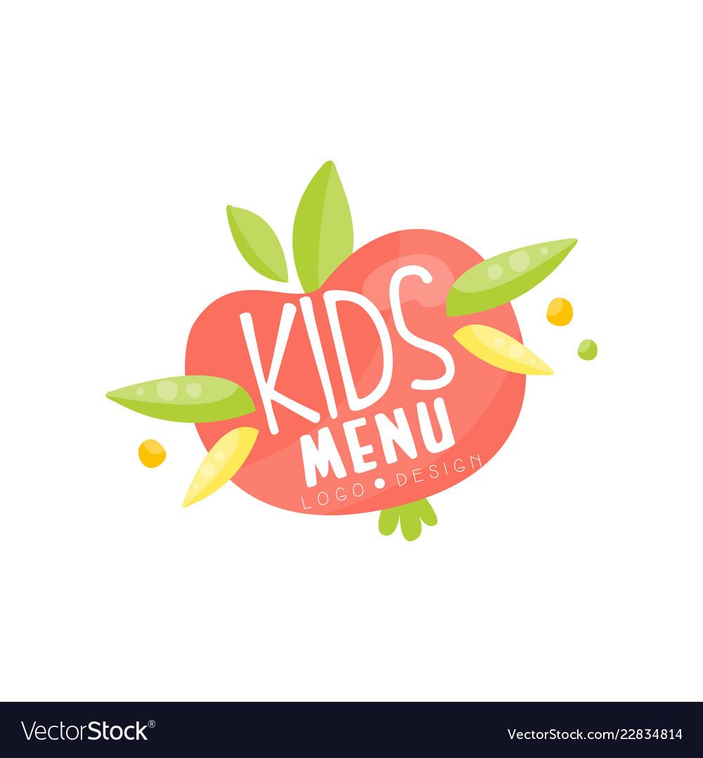 Kids menu logo healthy organic food banner or
