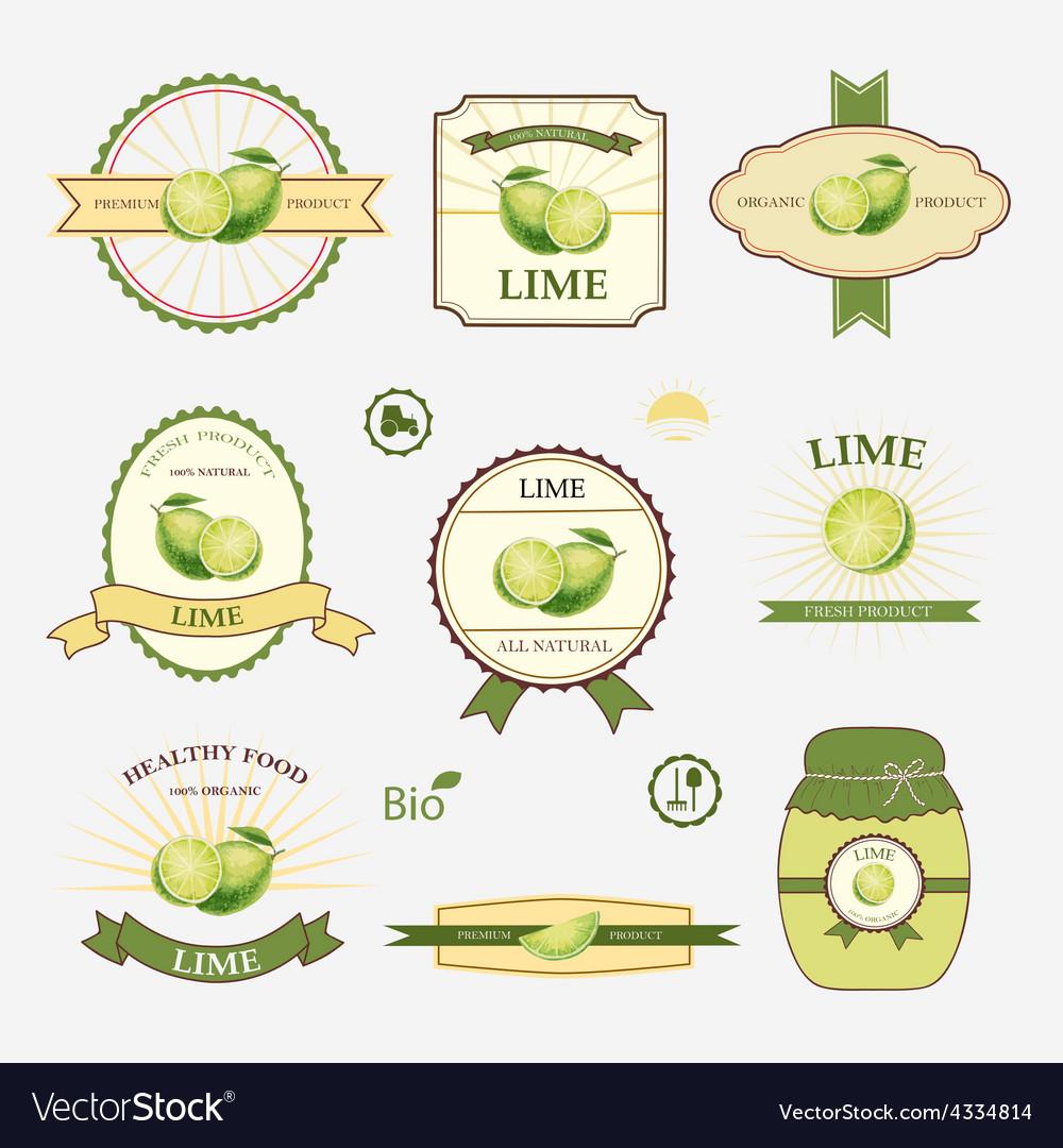 Lime set of label design