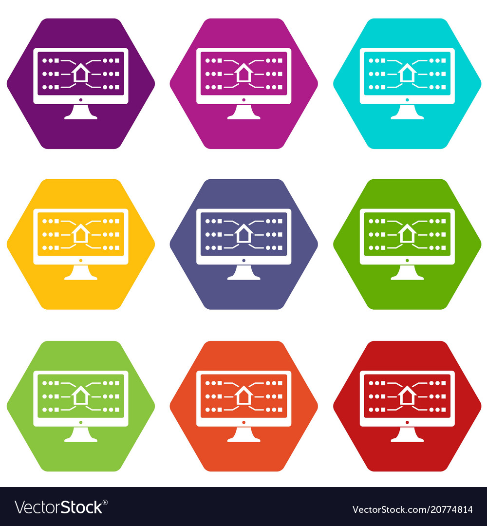 Monitor icons set 9