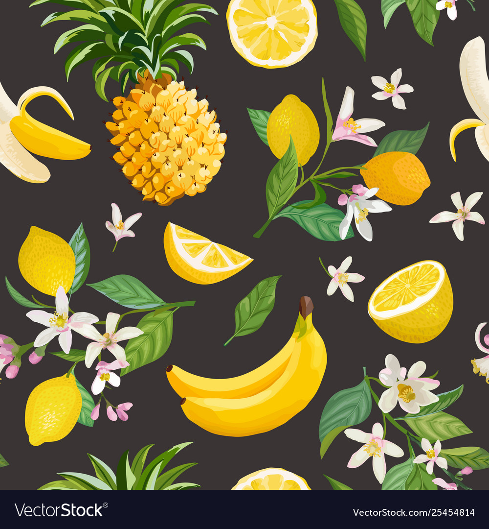 Seamless fruit pattern lemon banana pineapple