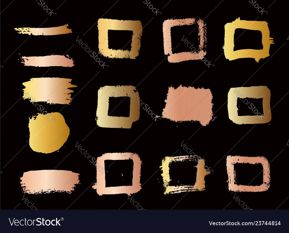 Set golden style brush strokes design element