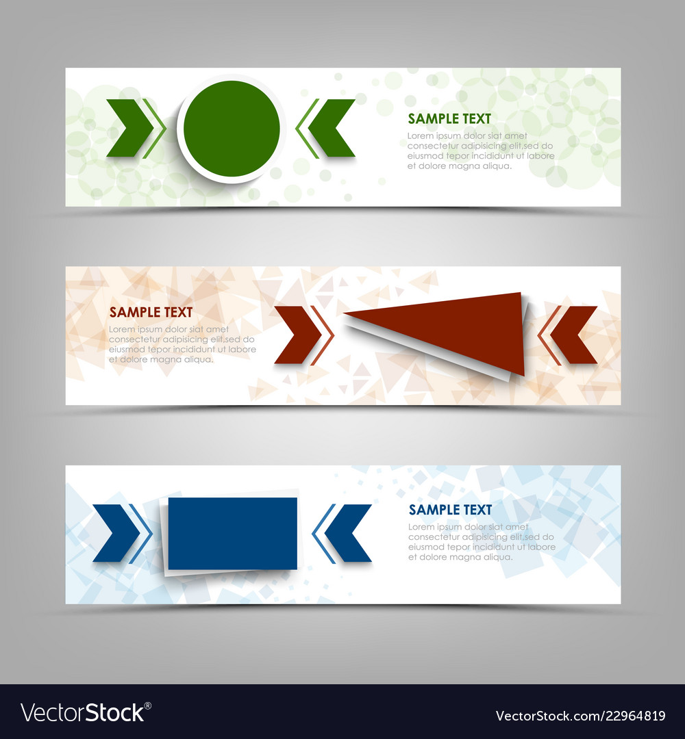 Collection banners with colorful geometric