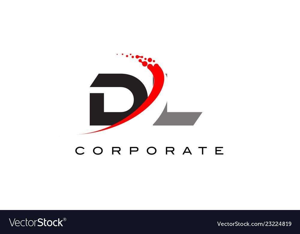 Dl Modern Letter Logo Design With Swoosh Vector Image