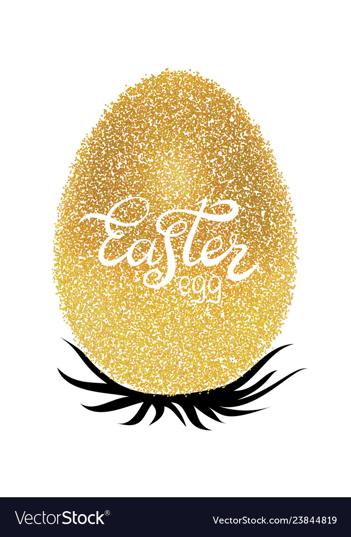 Easter lettering on silhouette on the gold glitter