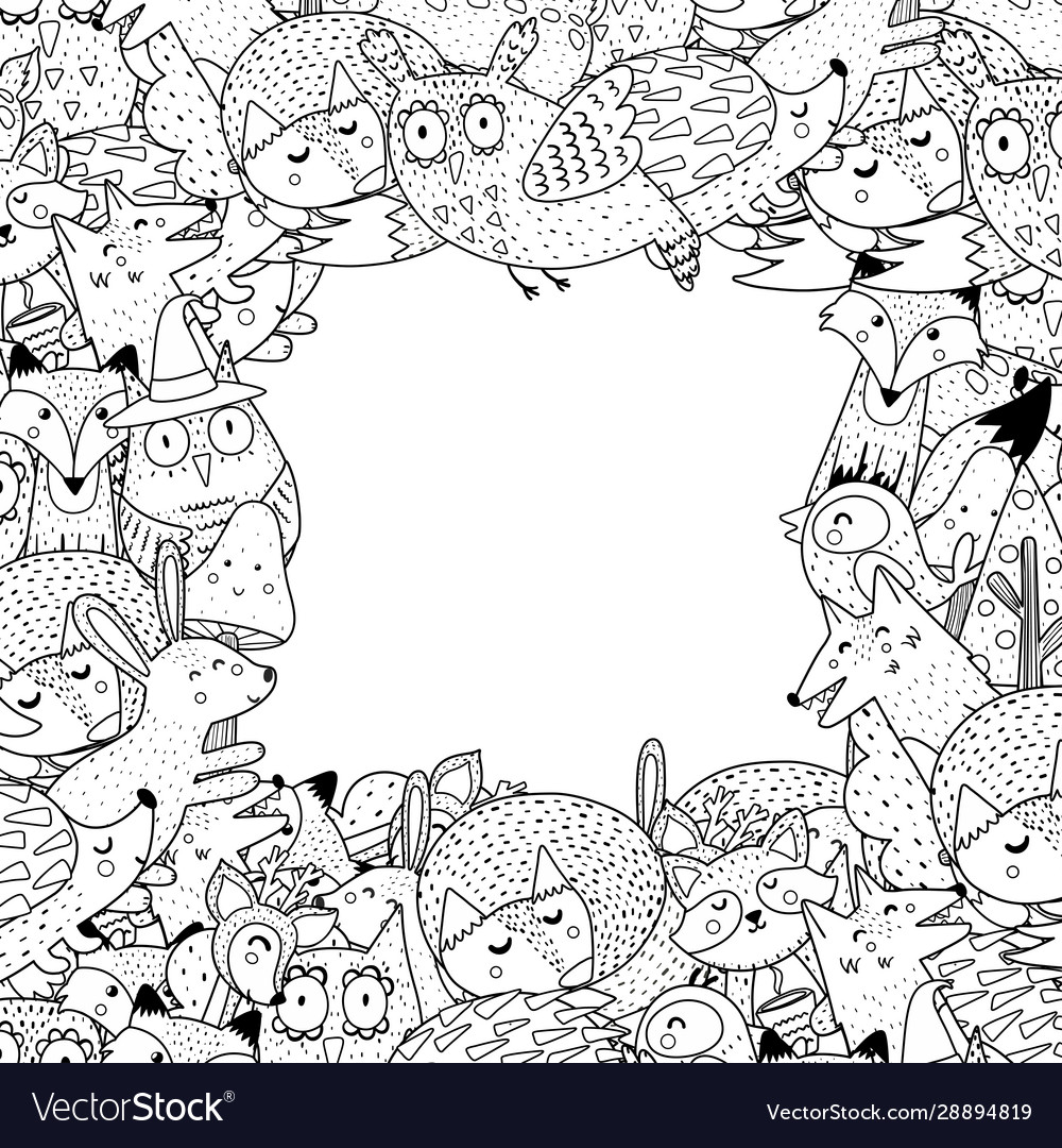 Set Of Cute Forest Or Woodland Animals And Plant Elements Suitable ... | 1080x1000
