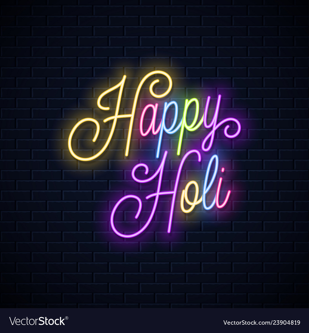 Holi vintage neon lettering happy holi neon