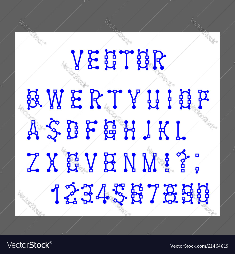 Modern alphabet letters and numbers lines