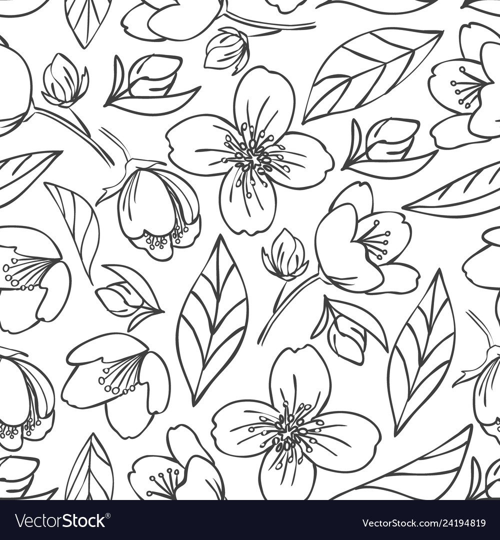 Seamless outlined pattern with jasmine