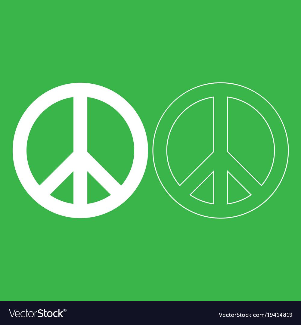 World Peace Sign Symbol Icon White Color Vector Image