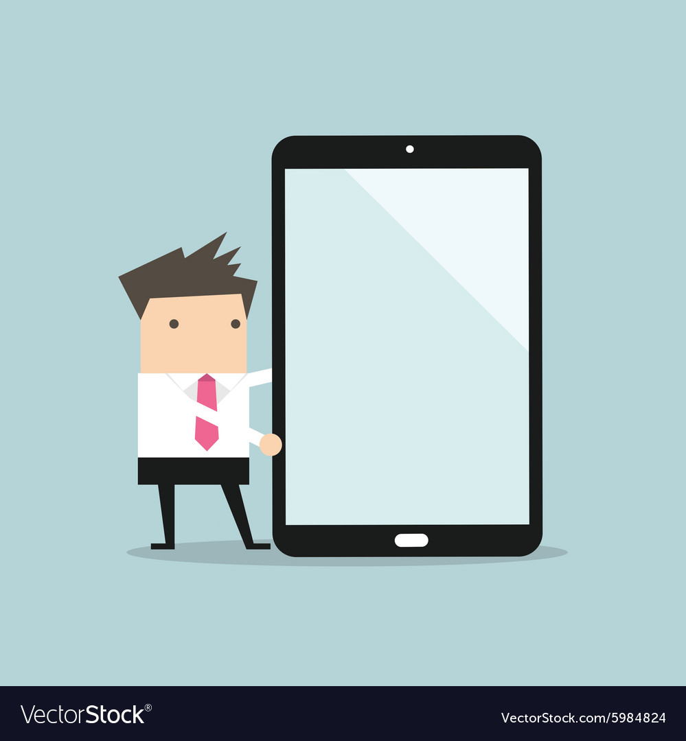 Businessman making presentation on a large tablet vector image