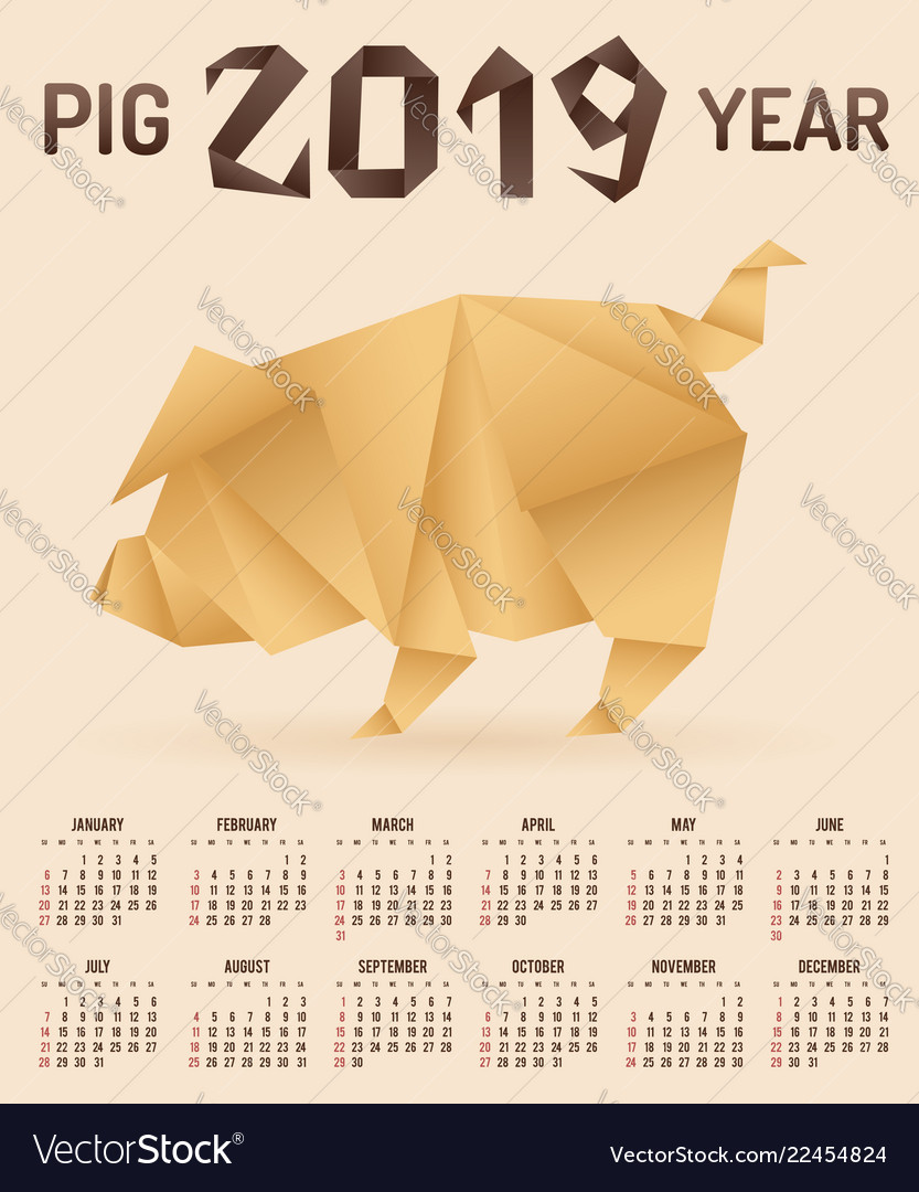Chinese new year 2019 pig origami calendar
