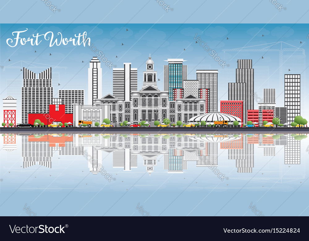 Fort worth skyline with gray buildings blue sky